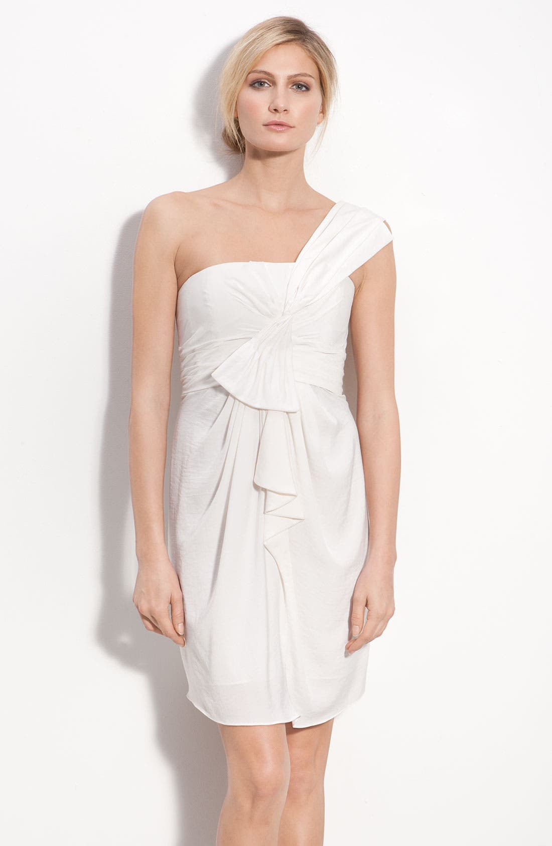 Alternate Image 1 Selected - BCBGMAXAZRIA Drape Front One-Shoulder Satin Dress