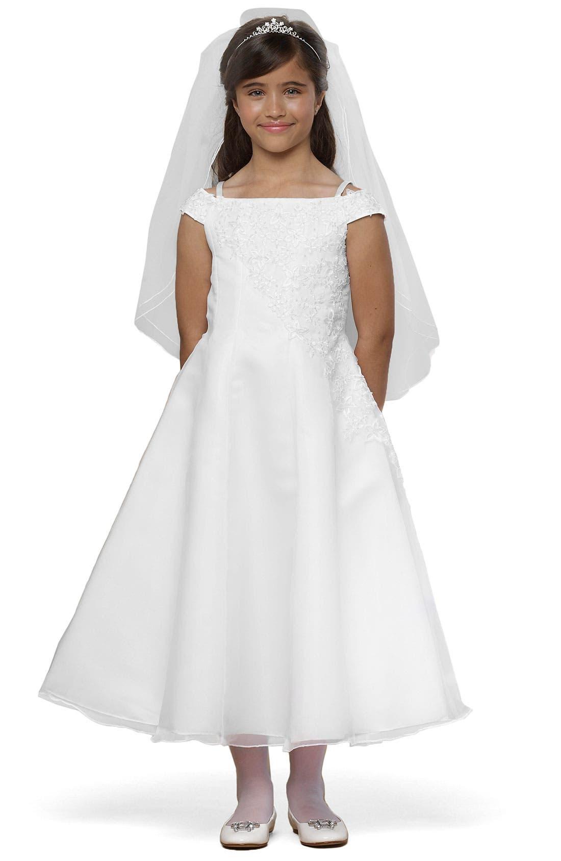 Main Image - Us Angels Off Shoulder Organza Dress (Little Girls, Big Girls & Big Girls Plus)