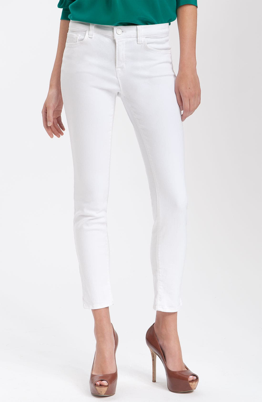 Alternate Image 1 Selected - J Brand Mid-Rise Skinny Jeans (Snow)