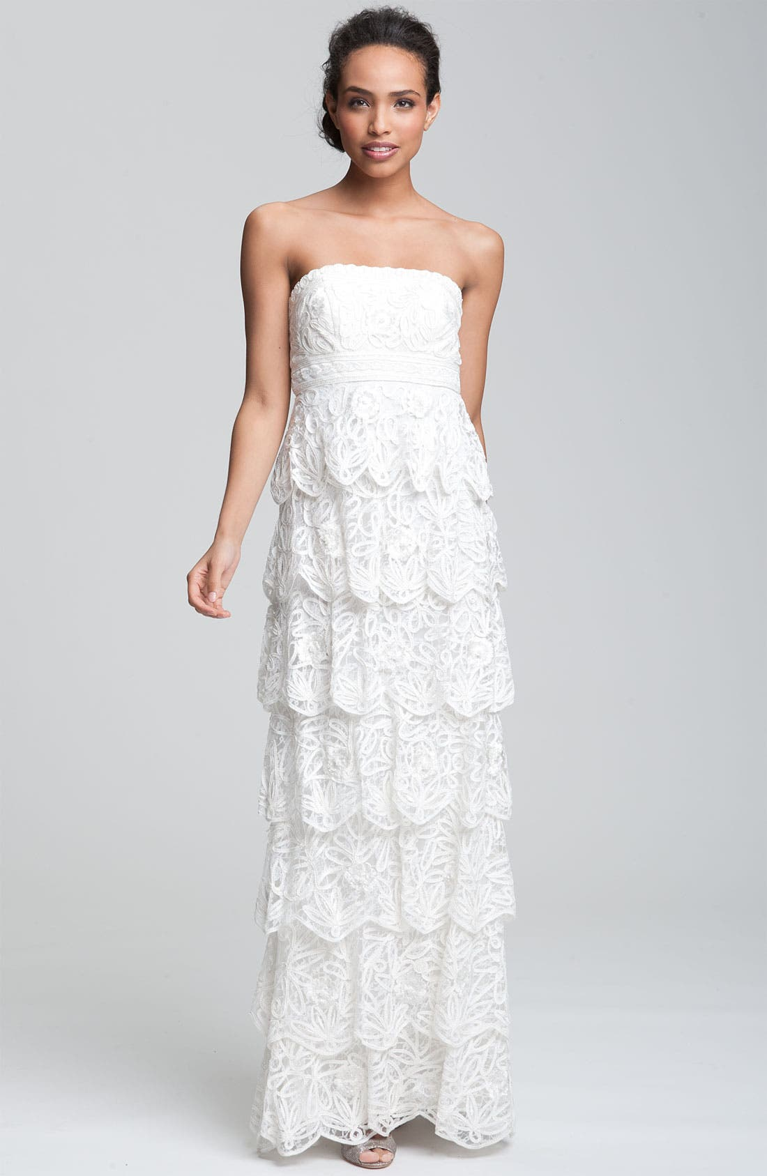 Alternate Image 1 Selected - Sue Wong Tiered Strapless Mesh Gown