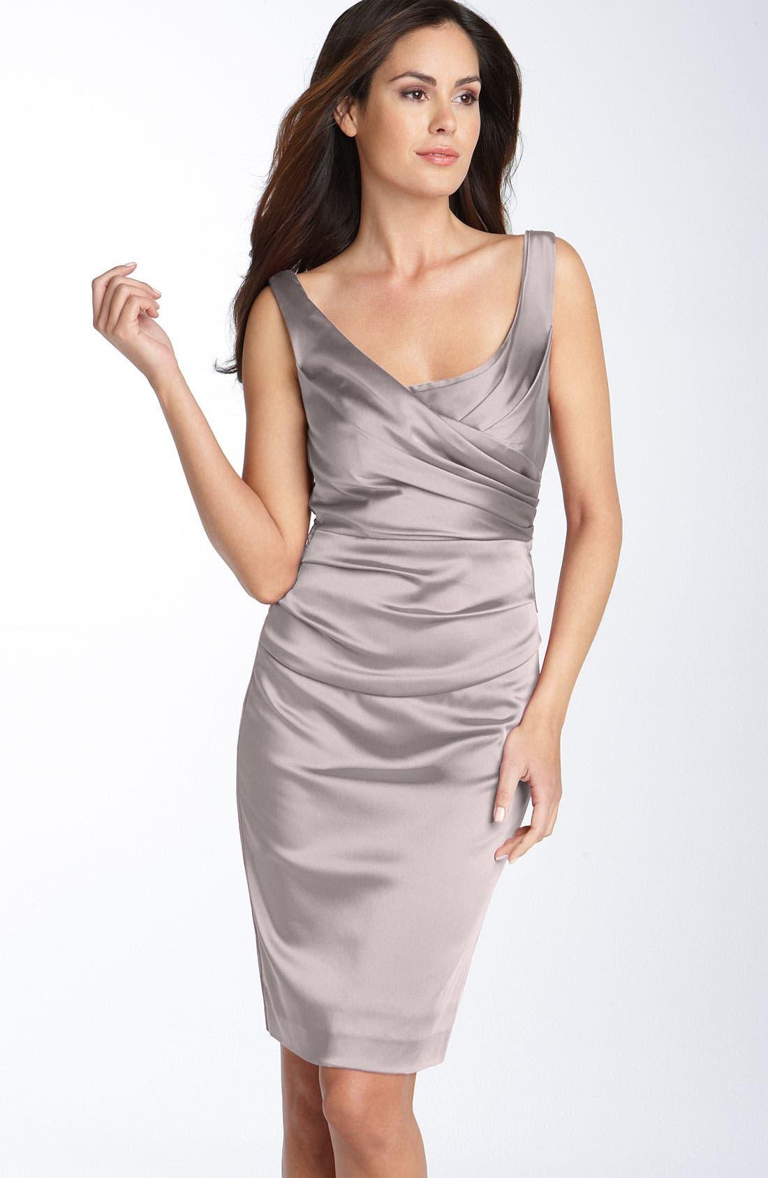 Alternate Image 1 Selected - Ivy & Blu Ruched Stretch Satin Sheath Dress