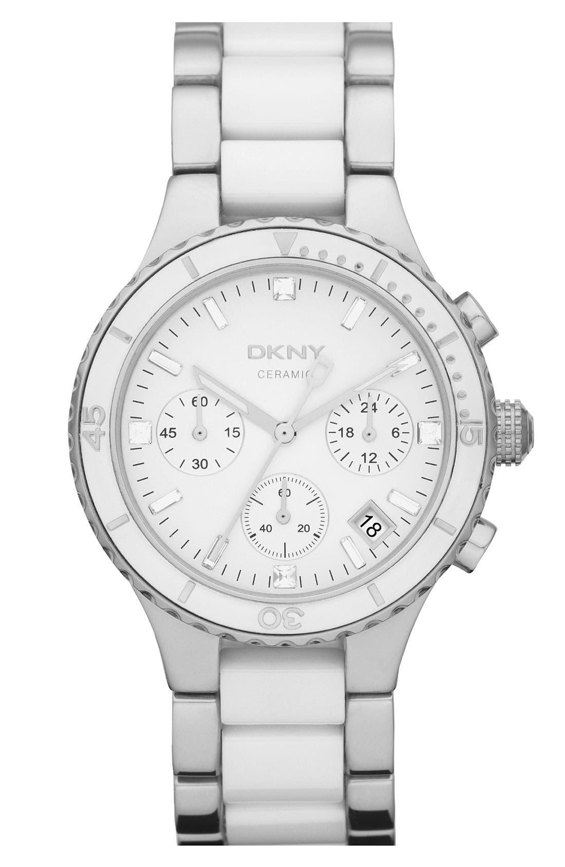 Alternate Image 1 Selected - DKNY Round Ceramic Bracelet Watch, 38mm