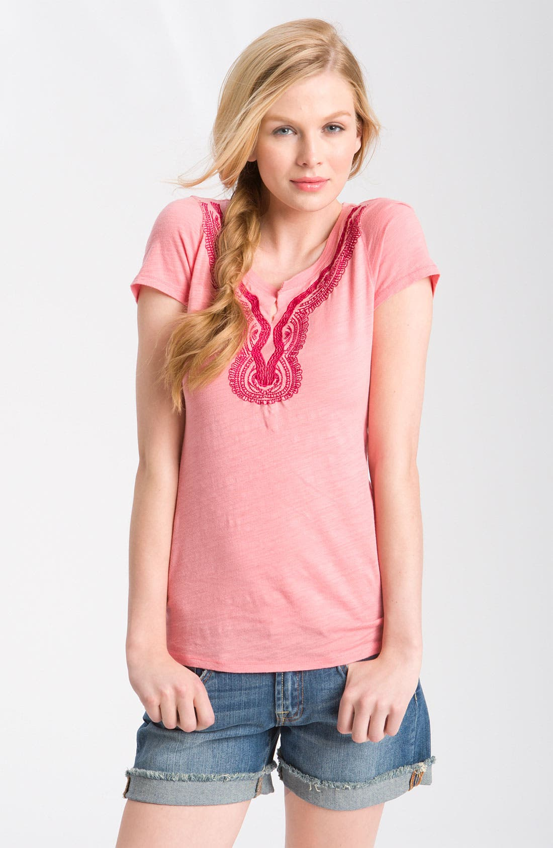 Alternate Image 1 Selected - Lucky Brand 'Maldives' Embroidered Tee