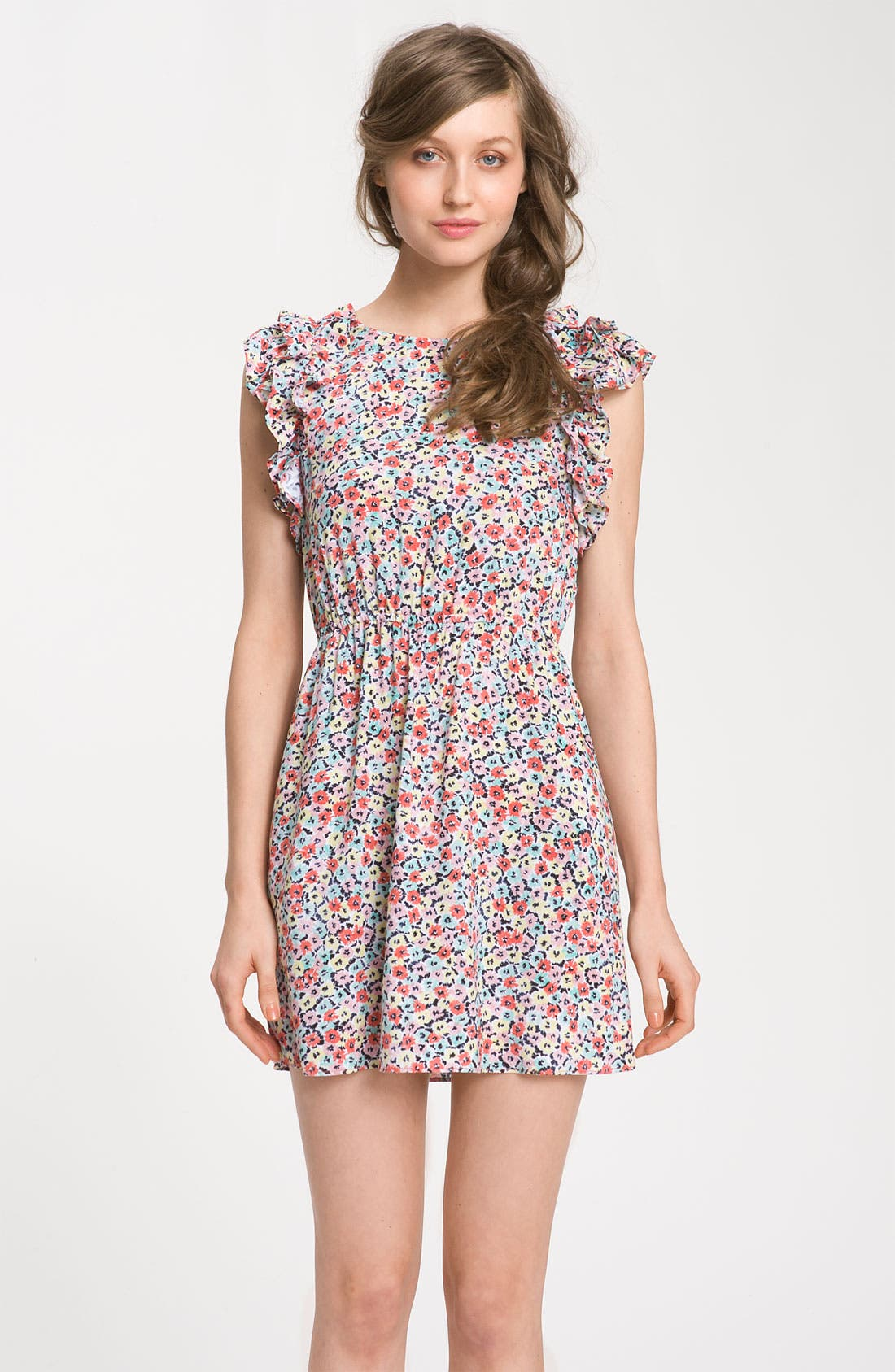 Alternate Image 1 Selected - BCBGeneration Floral Ruffle Sleeve Dress