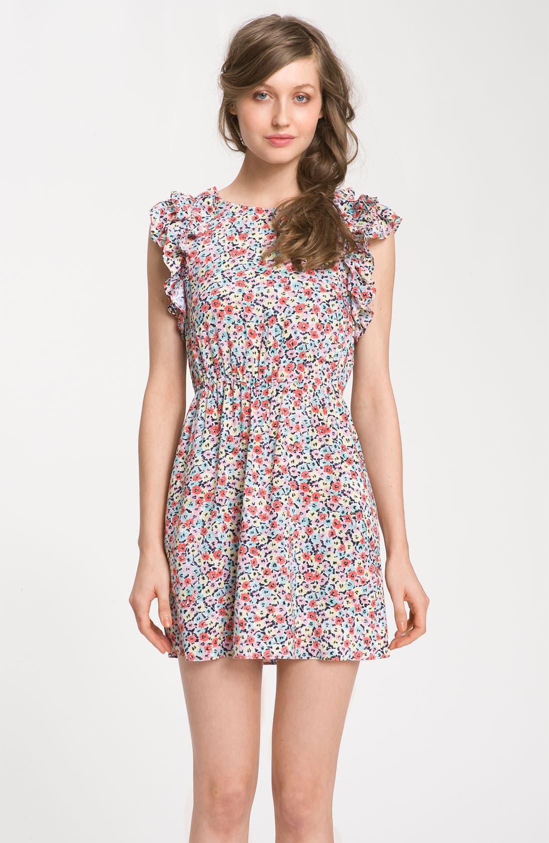 Main Image - BCBGeneration Floral Ruffle Sleeve Dress