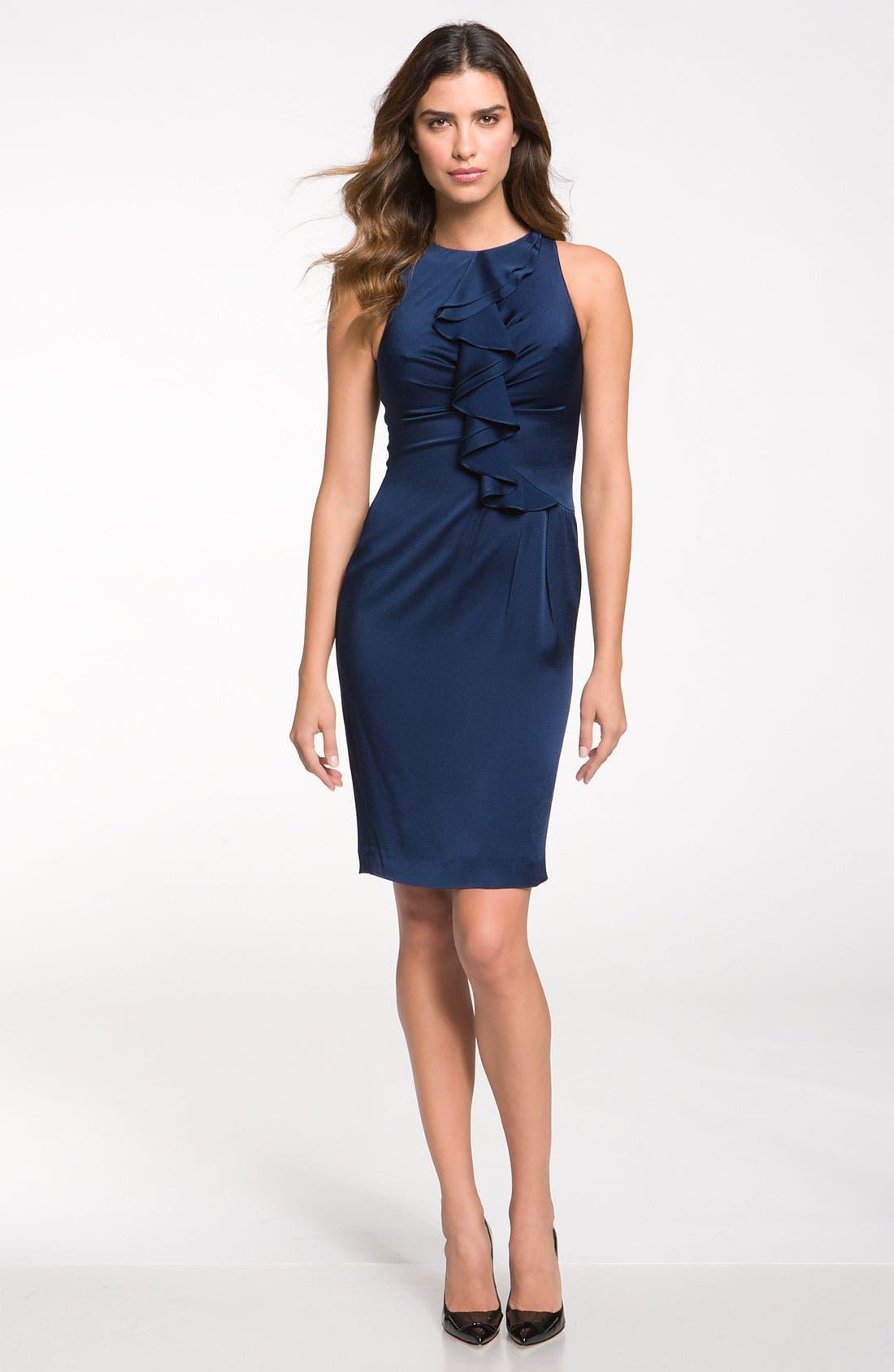 Main Image - St. John Collection Ruffle Satin Dress