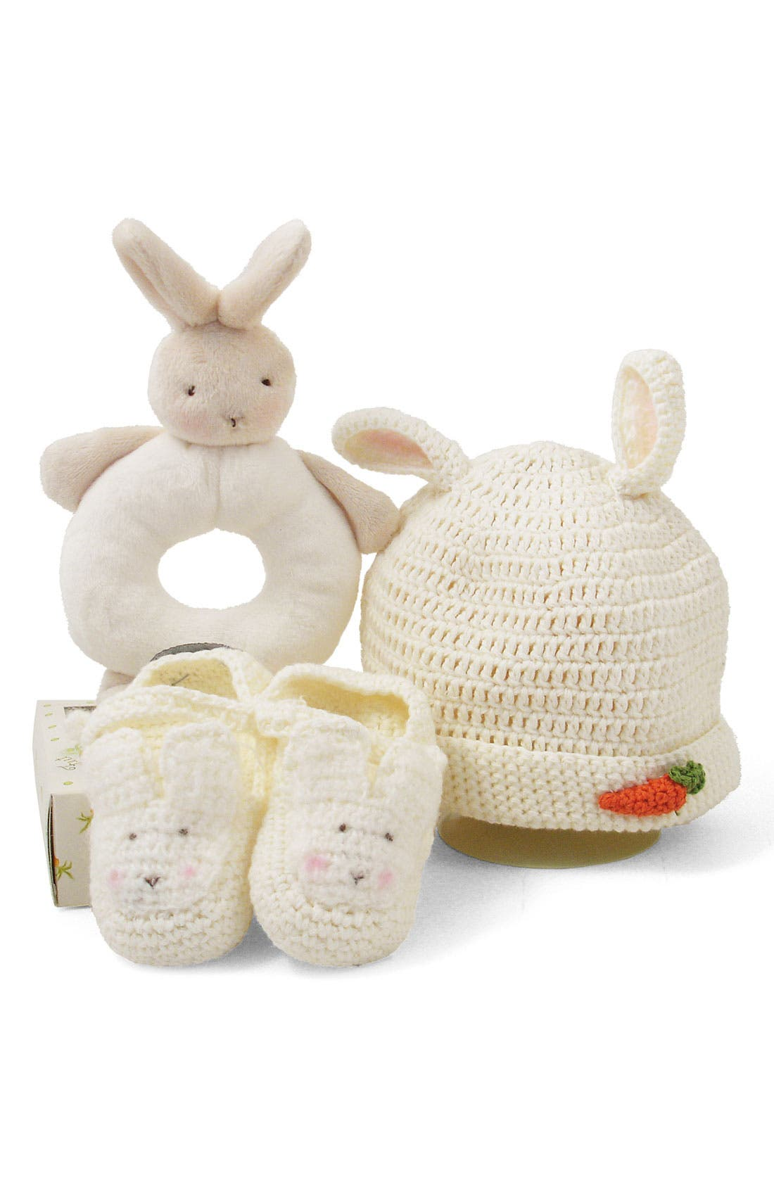 Alternate Image 1 Selected - Bunnies by the Bay 'Wee Bunny' Rattle, Bootie & Hat Set (Baby)