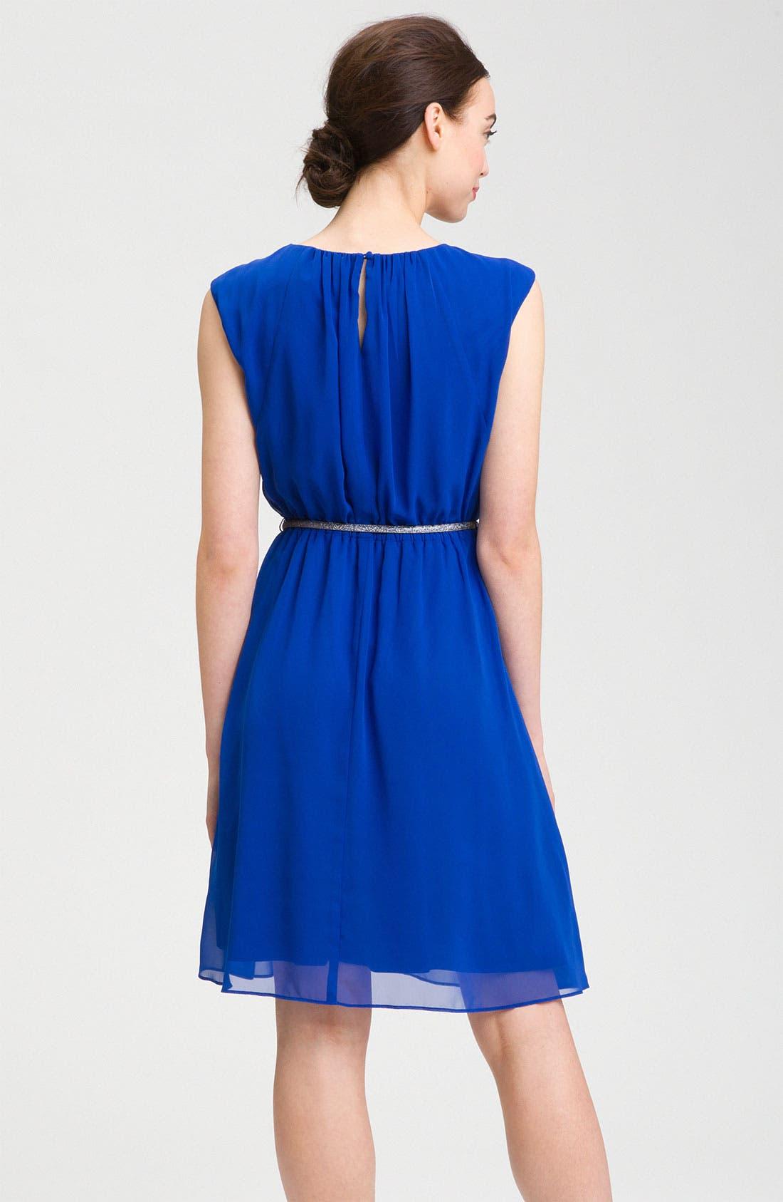 Alternate Image 2  - Calvin Klein Cap Sleeve Belted Crêpe de Chine Dress