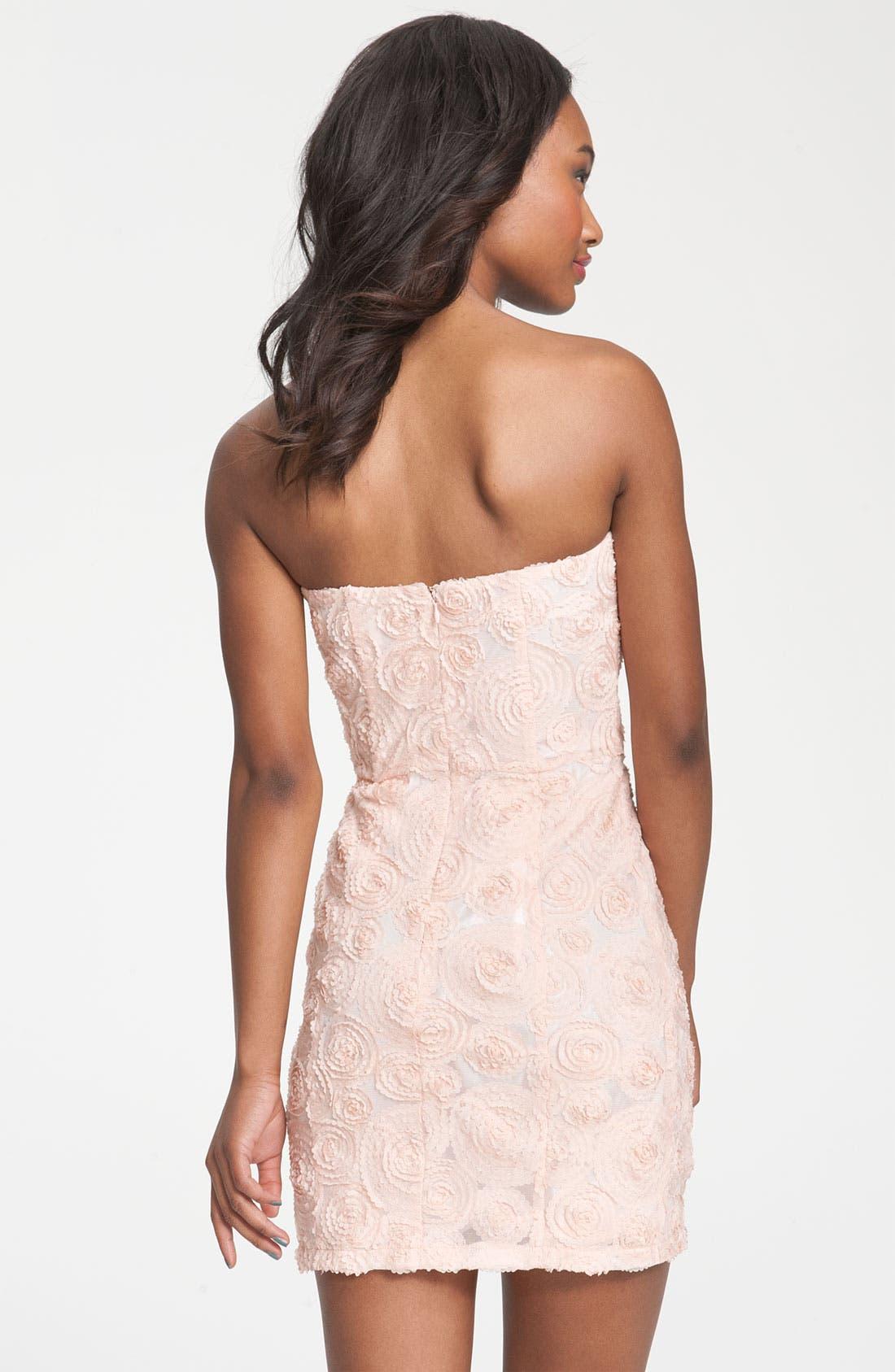 Alternate Image 2  - Lush Rosette Strapless Dress (Juniors)