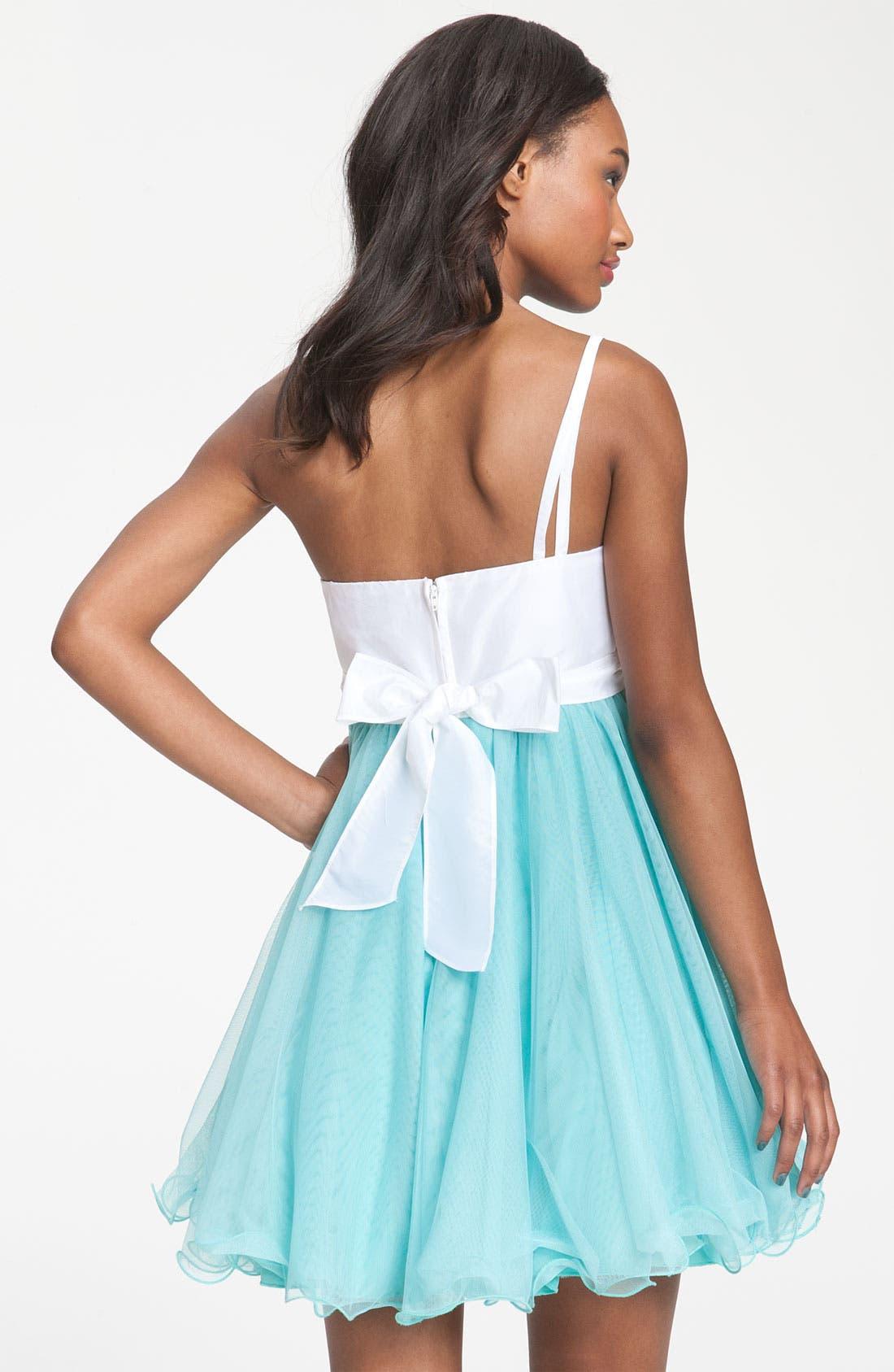 Alternate Image 2  - Way-In One Shoulder Rosette Colorblock Dress (Juniors)