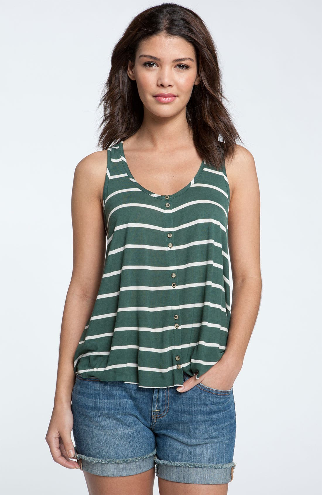 Alternate Image 1 Selected - Kensie Button Front Stripe Tank