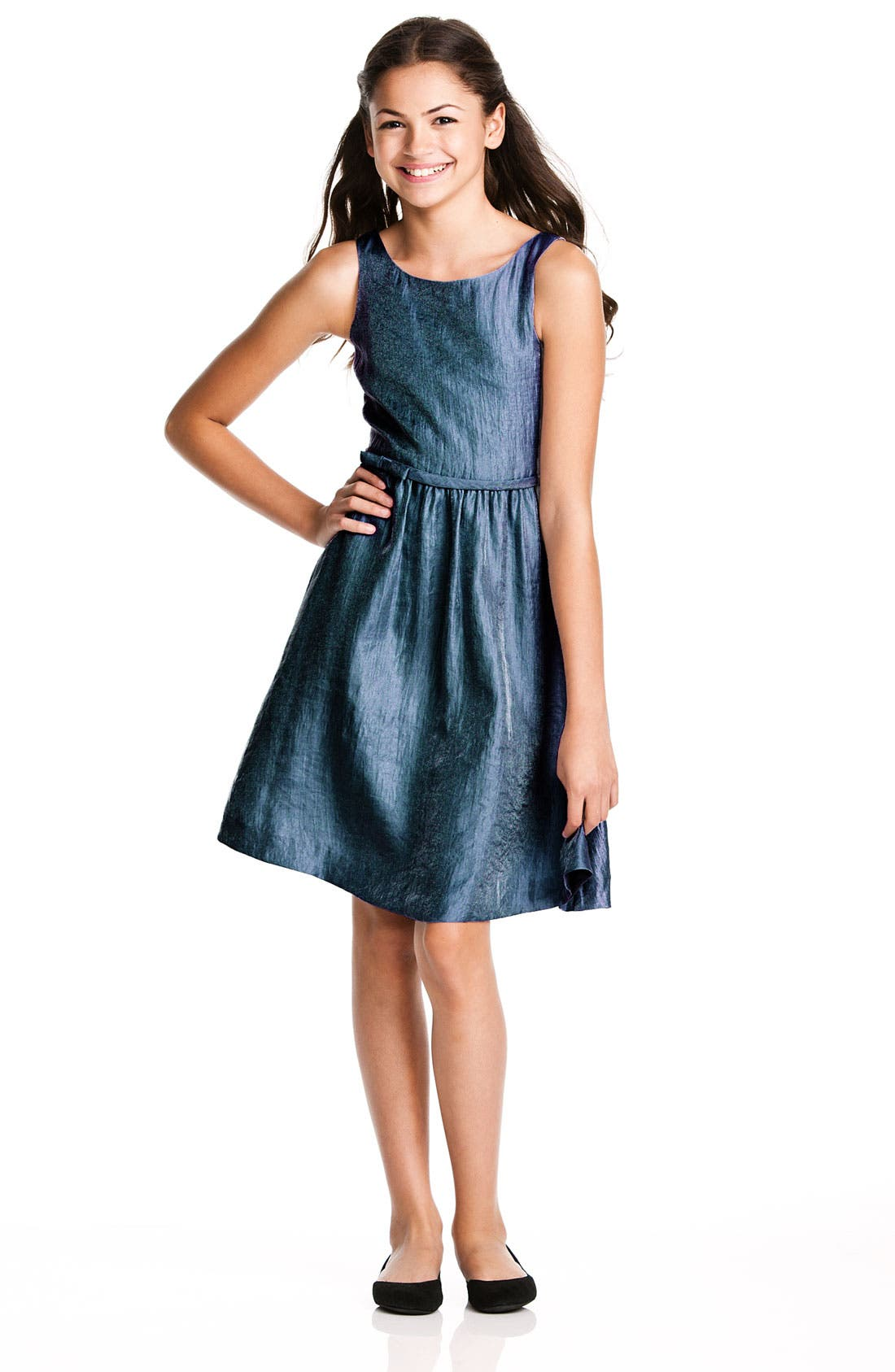 Main Image - BLUSH by Us Angels Textured Sheen Dress (Big Girls)