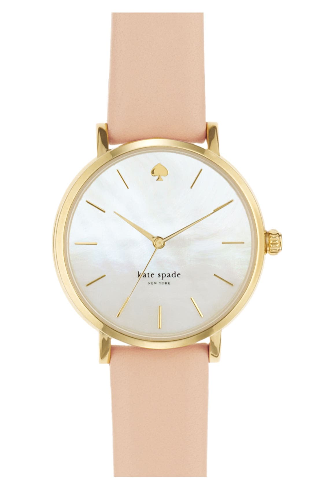 Main Image - kate spade new york 'metro' round leather strap watch, 34mm