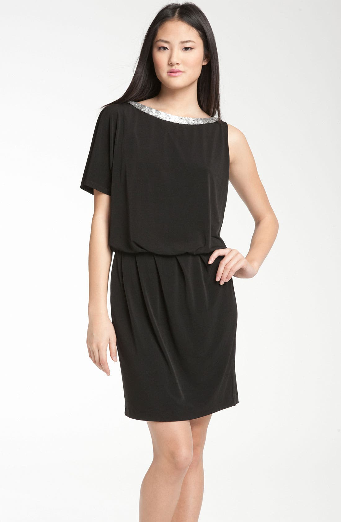 Main Image - Donna Ricco Asymmetrical Jersey Blouson Dress