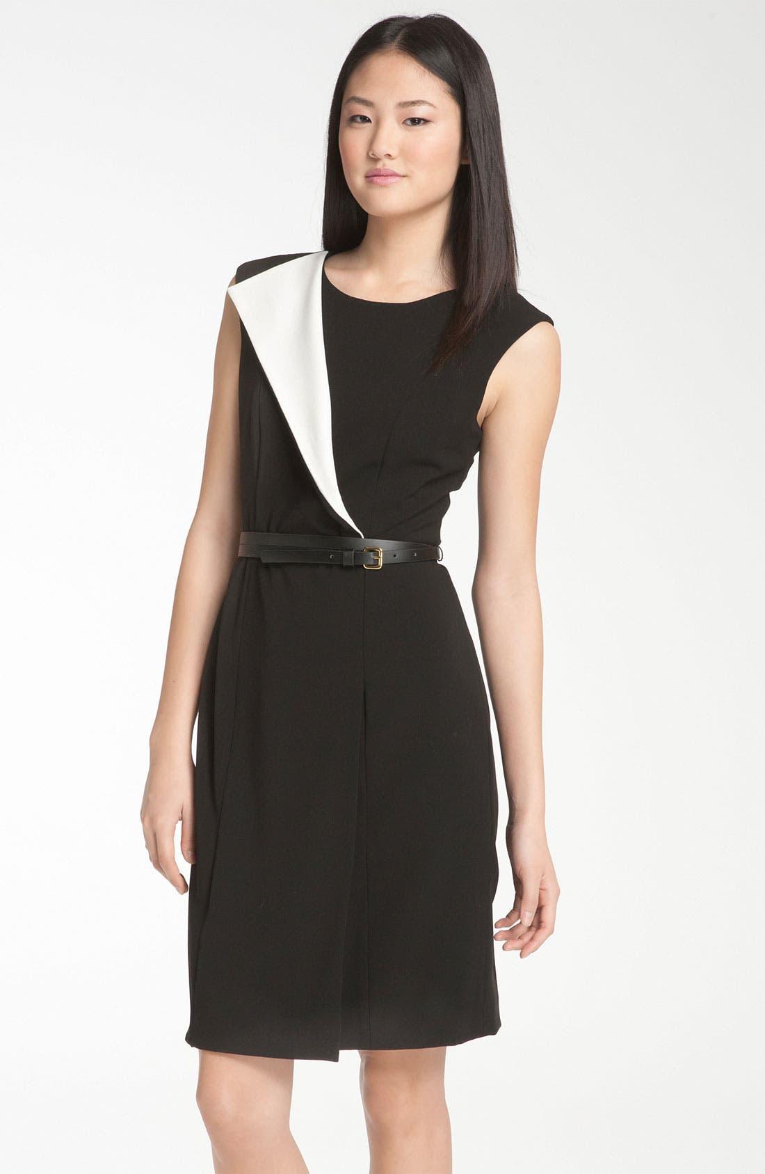 Alternate Image 1 Selected - Calvin Klein Origami Detail Belted Jersey Sheath Dress