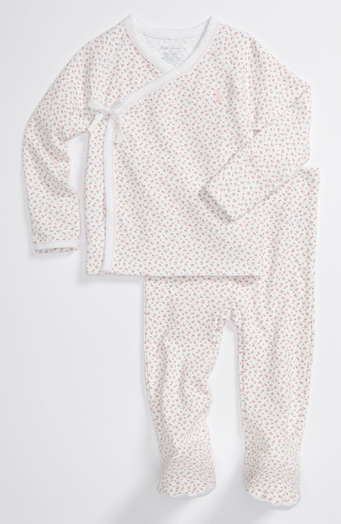 Alternate Image 1 Selected - Ralph Lauren Print Top & Footed Pants Set (Baby)