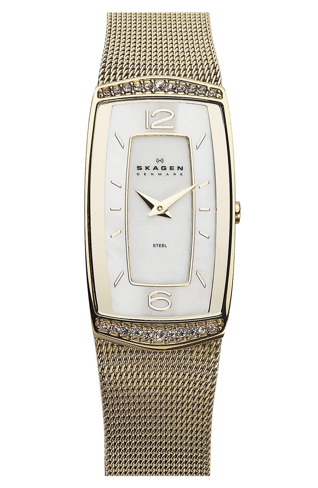 Main Image - Skagen Rectangular Mesh Watch