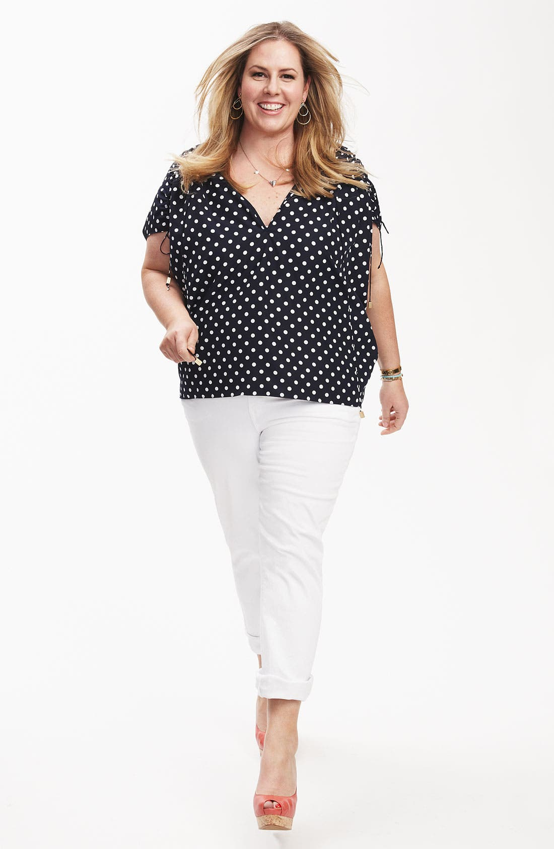 Alternate Image 5  - Vince Camuto Dot Drawstring Sleeve Blouse (Plus)