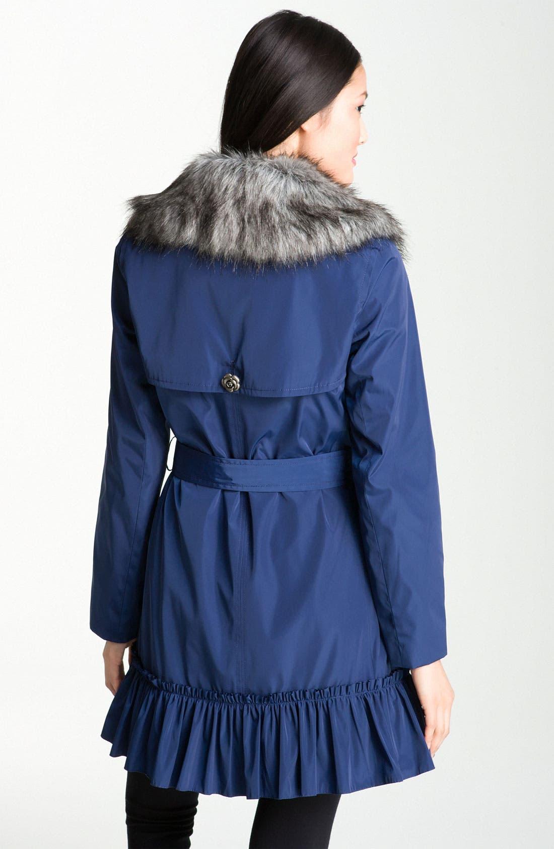 Alternate Image 2  - Betsey Johnson Ruffle Hem Coat with Detachable Collar