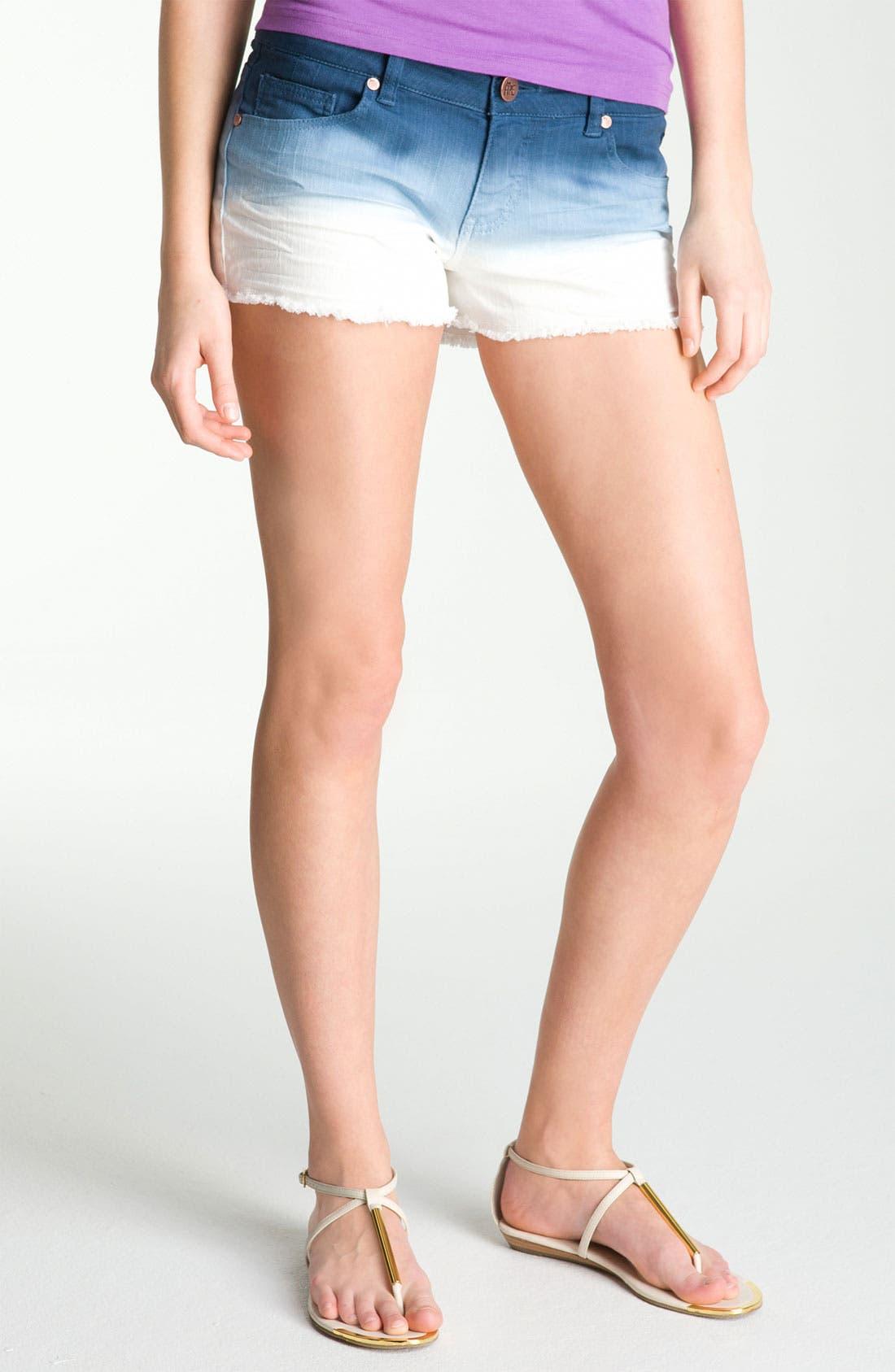 Main Image - Fire Dip Dyed Cutoff Denim Shorts (Juniors)