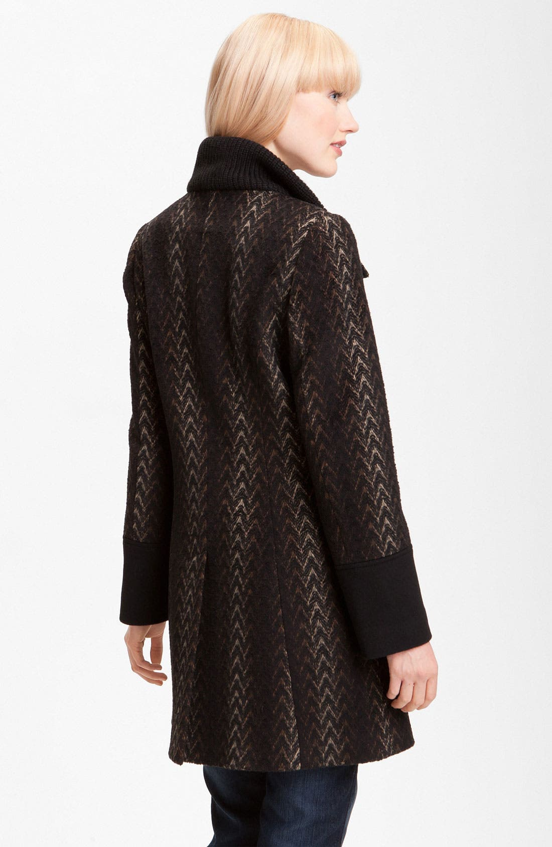 Alternate Image 2  - Via Spiga Knit Collar Wool Blend Coat