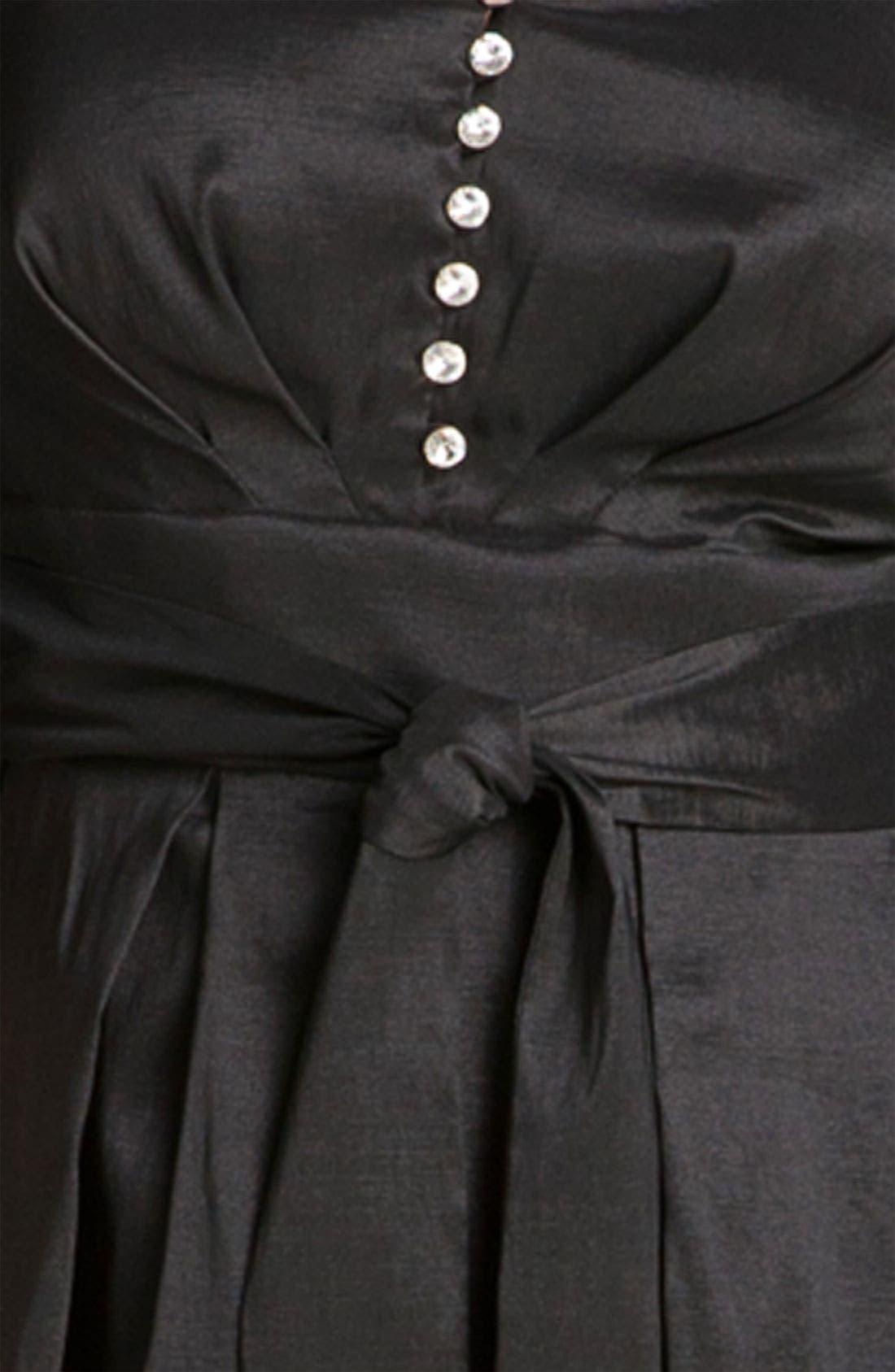 Alternate Image 3  - Donna Ricco Rhinestone Button Taffeta Shirtdress (Plus Size)