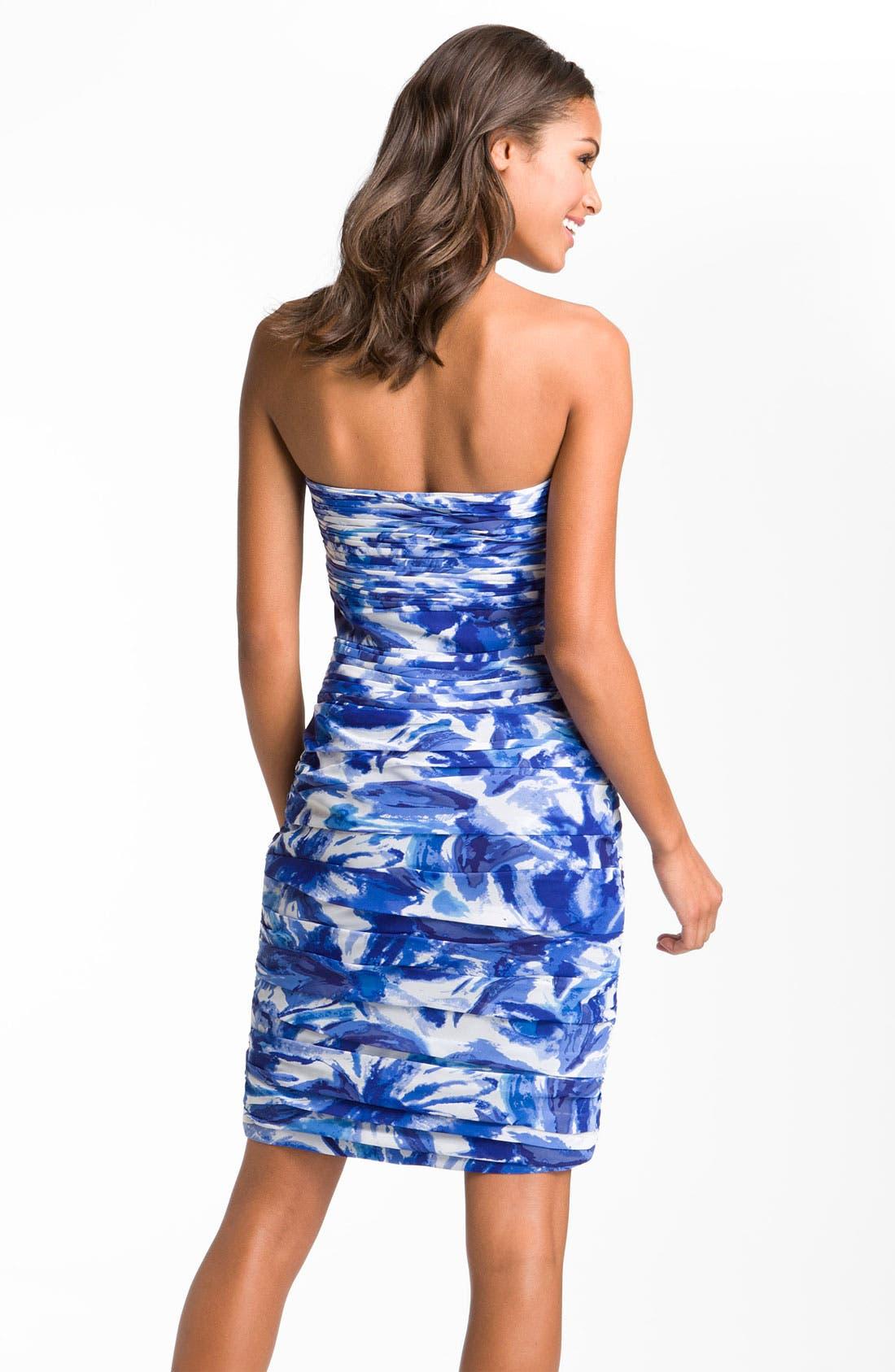 Alternate Image 2  - ML Monique Lhuillier Bridesmaids Ruched Floral Print Chiffon Sheath Dress (Nordstrom Exclusive)