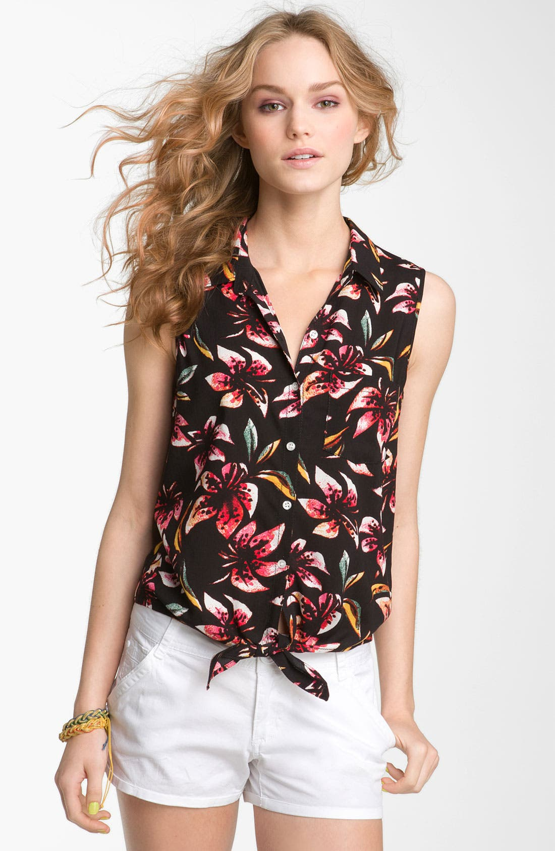 Alternate Image 1 Selected - Rubbish® Tie Front Sleeveless Shirt (Juniors)