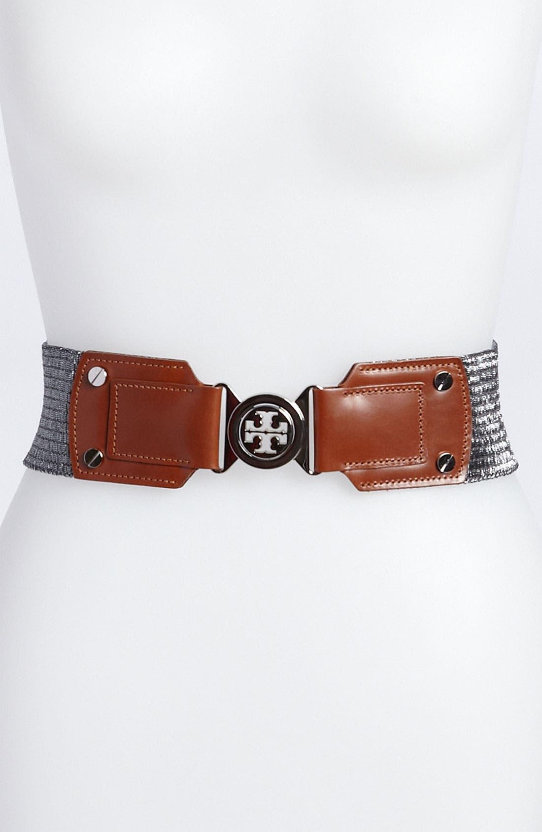 Main Image - Tory Burch Interlocking Logo Stretch Belt