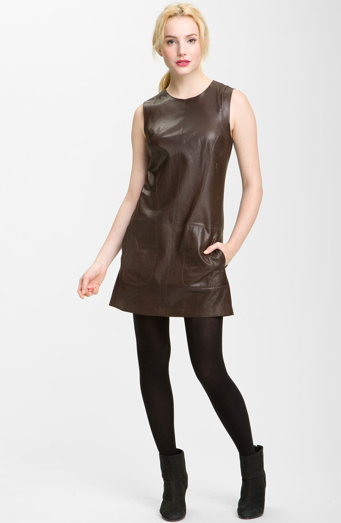 Main Image - Vince Leather Shift Dress