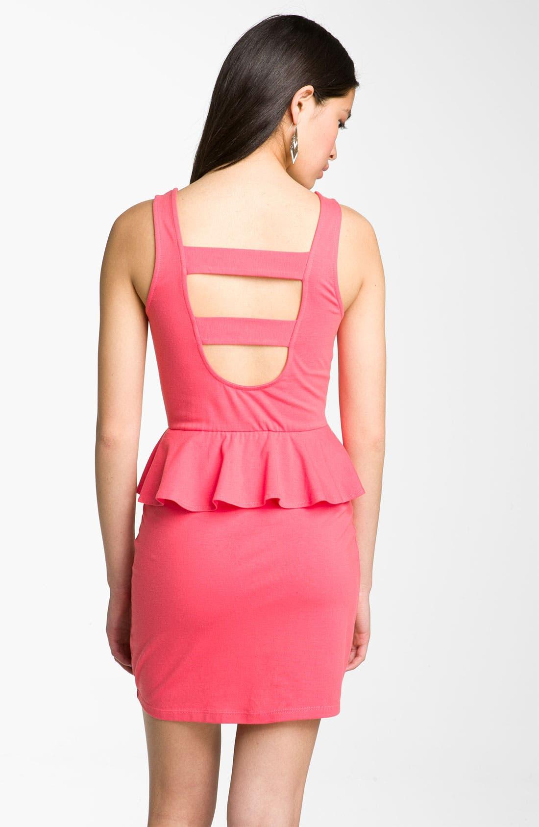 Alternate Image 2  - Mimi Chica Cutout Peplum Dress (Juniors)