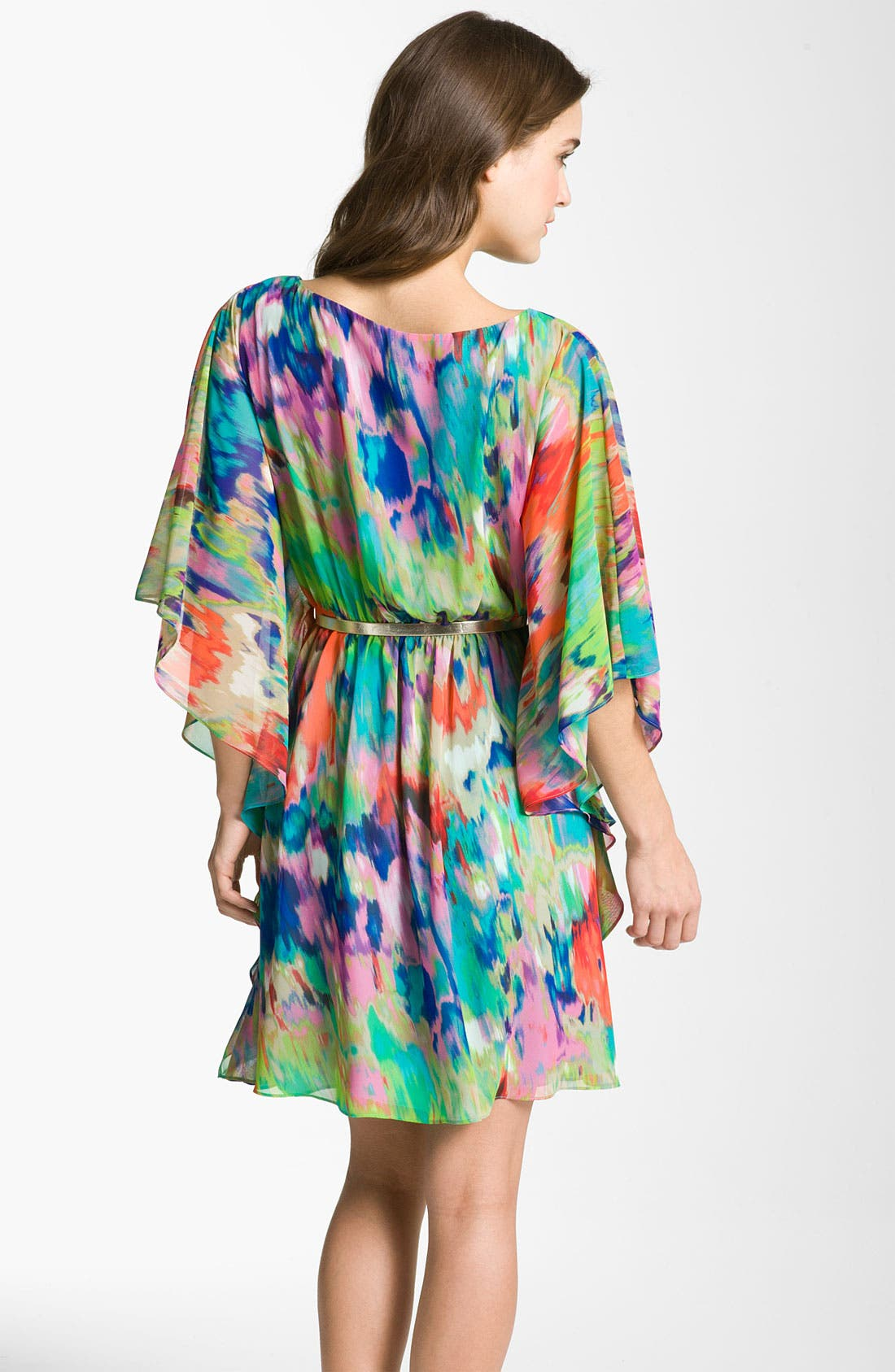 Alternate Image 2  - Eliza J Print Batwing Sleeve Chiffon Dress