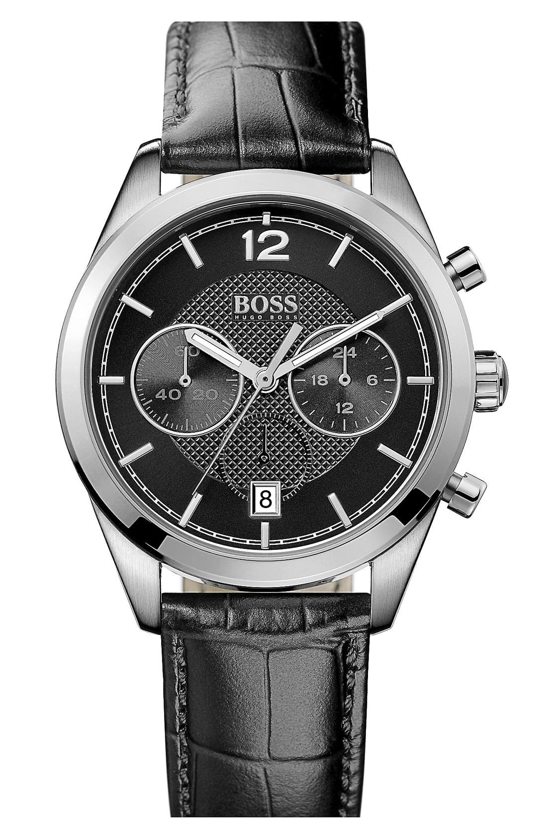 Alternate Image 1 Selected - BOSS HUGO BOSS Chronograph Leather Strap Watch, 40mm