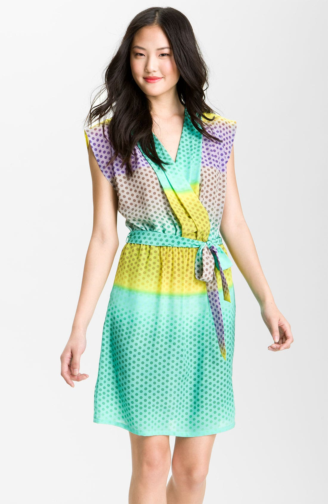Main Image - Presley Skye 'April' Surplice Dot Silk Dress