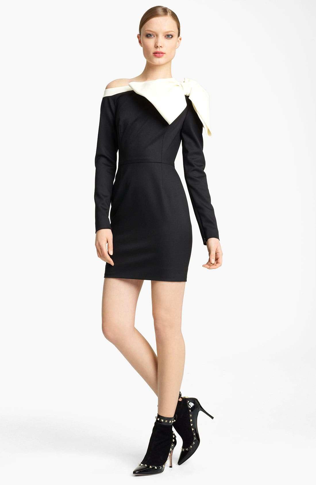 Main Image - Valentino Side Bow Techno Stretch Wool Dress
