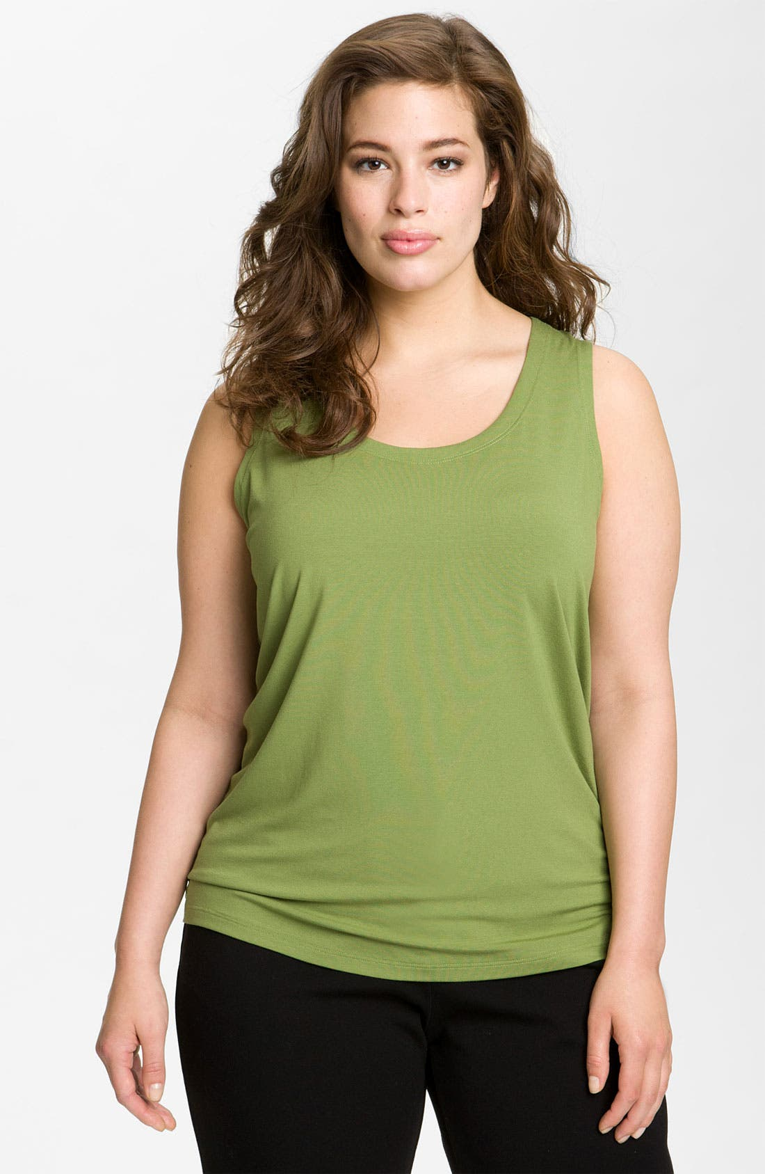 Alternate Image 1 Selected - Eileen Fisher U-Neck Shell (Plus) (Online Exclusive)
