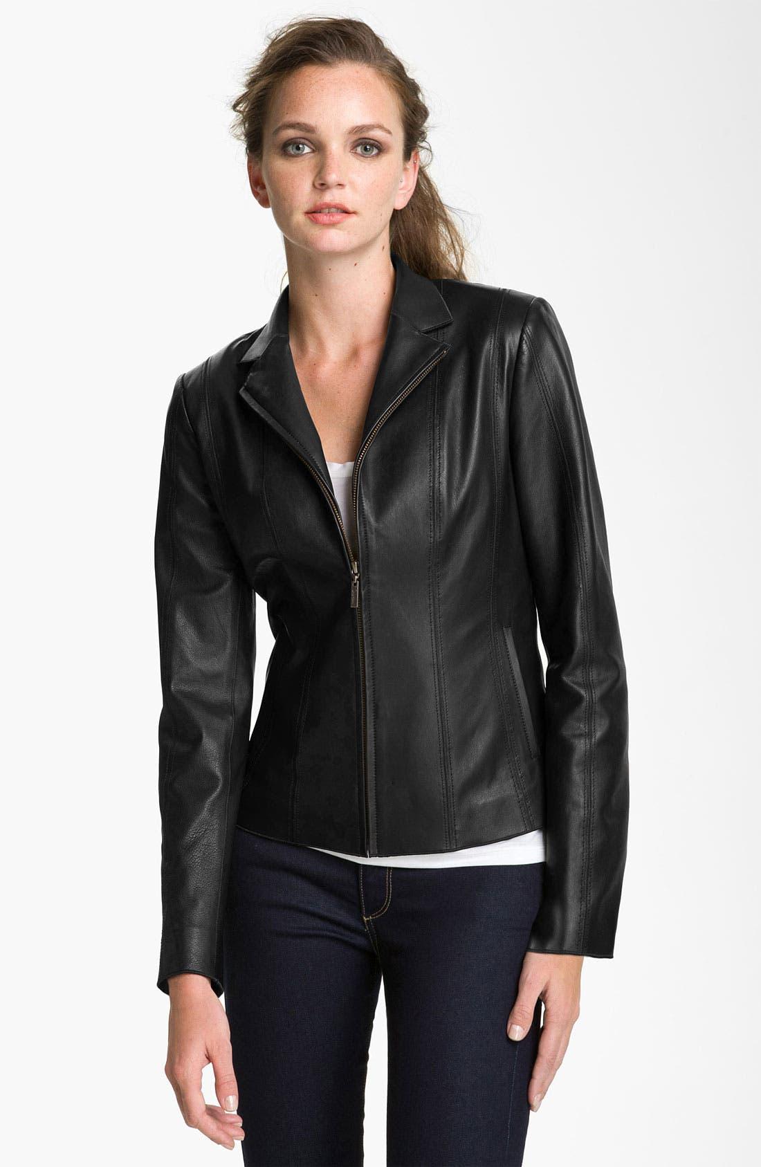Alternate Image 4  - Cole Haan Notch Collar Lambskin Leather Jacket (Regular & Petite)