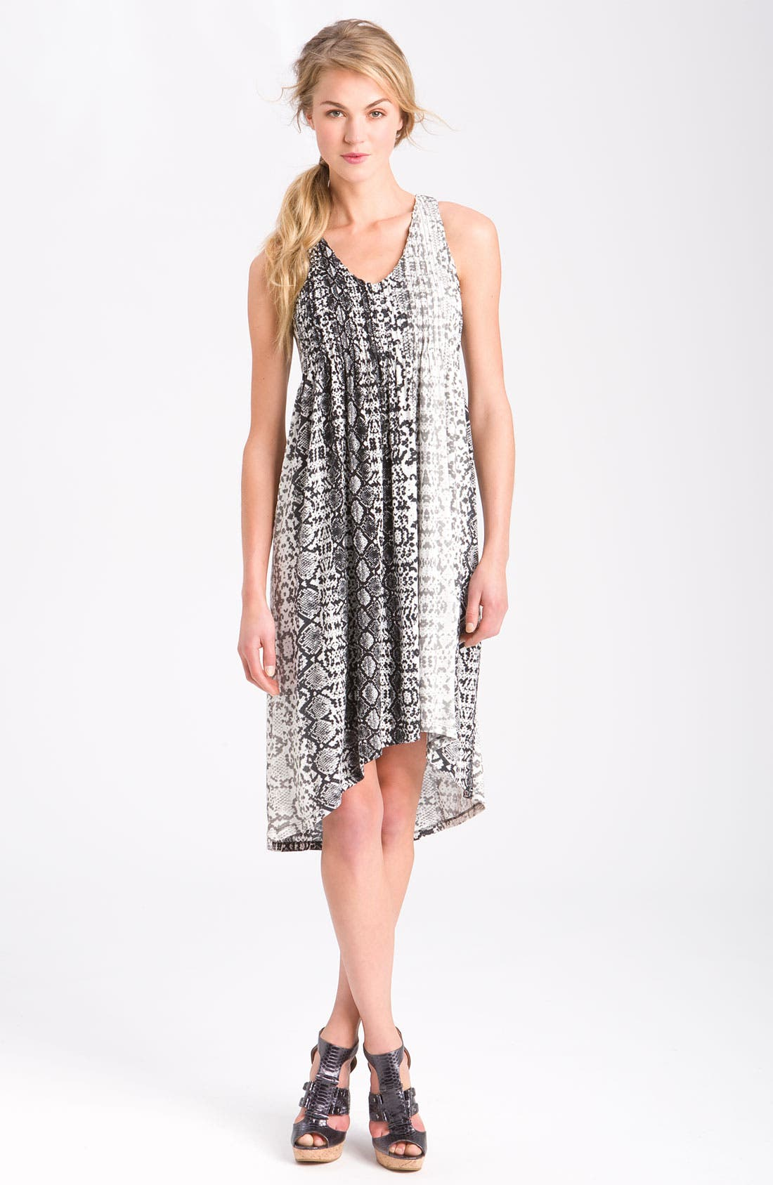 Main Image - Kenneth Cole New York Python Print Pleated Dress (Petite)