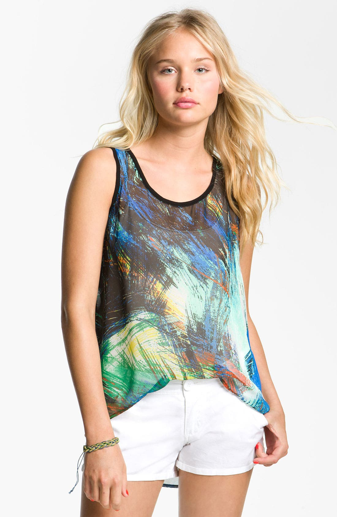Alternate Image 1 Selected - Chloe K Print Chiffon Tank (Juniors)