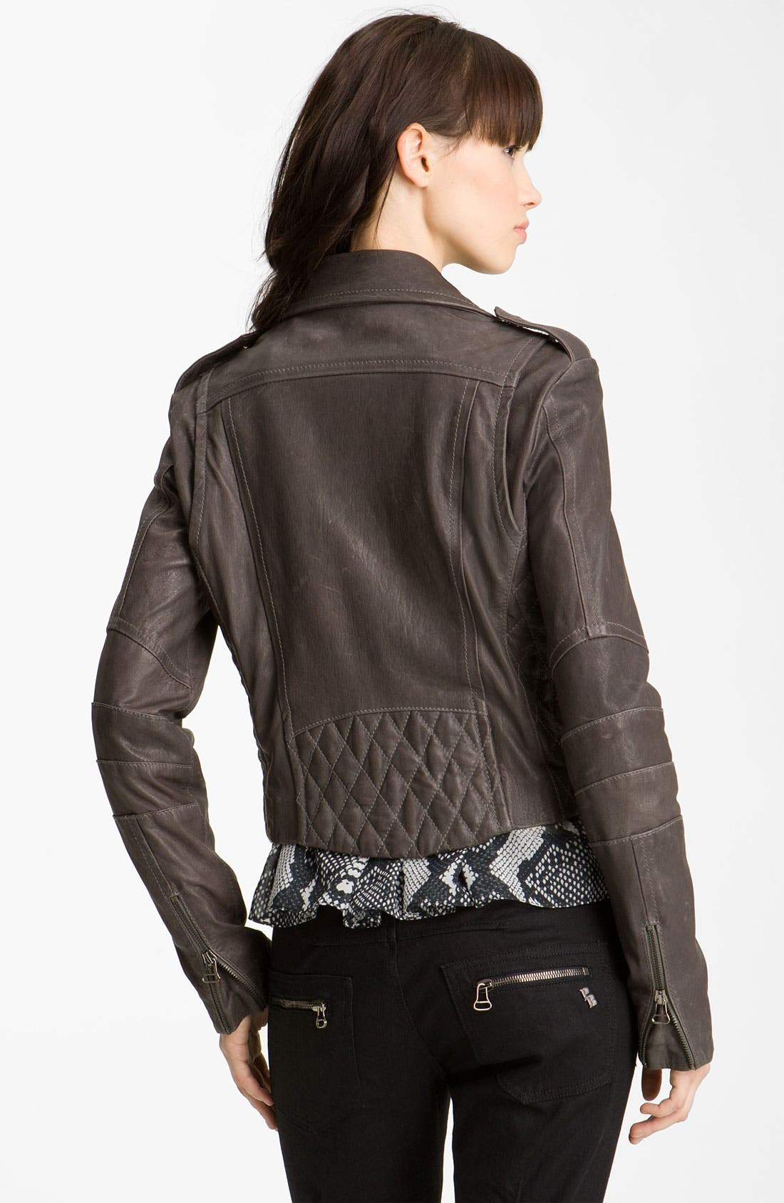 Alternate Image 2  - Pierre Balmain Quilted Leather Moto Jacket