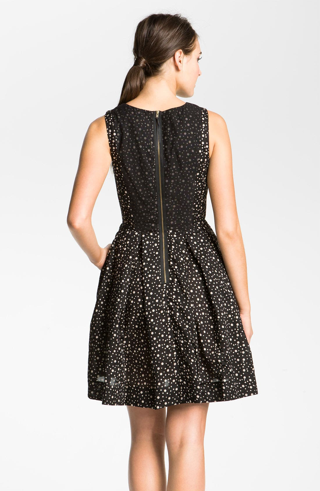 Alternate Image 2  - Taylor Dresses Polka Dot Cotton Fit & Flare Dress
