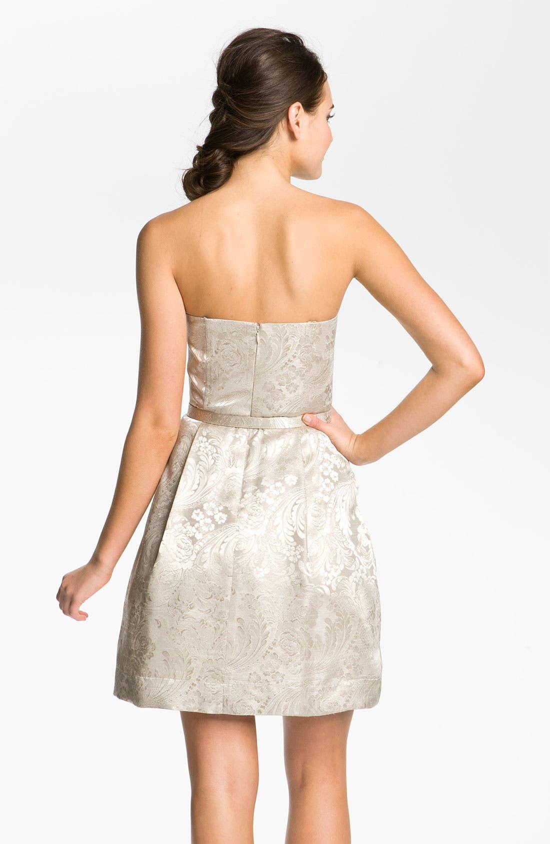Alternate Image 2  - Eliza J Strapless Belted Jacquard Dress