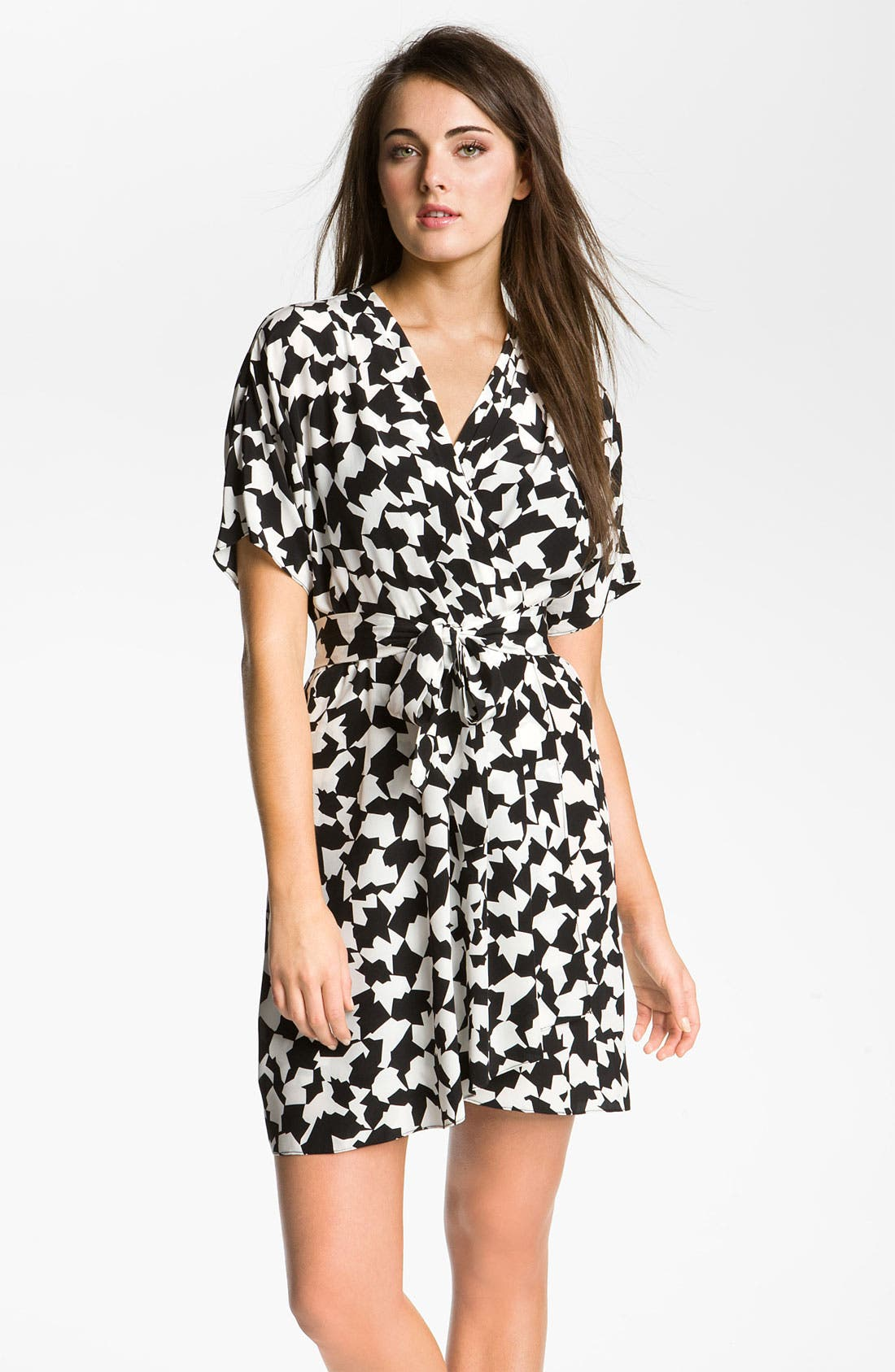 Main Image - Donna Morgan Print Surplice Crêpe de Chine Dress