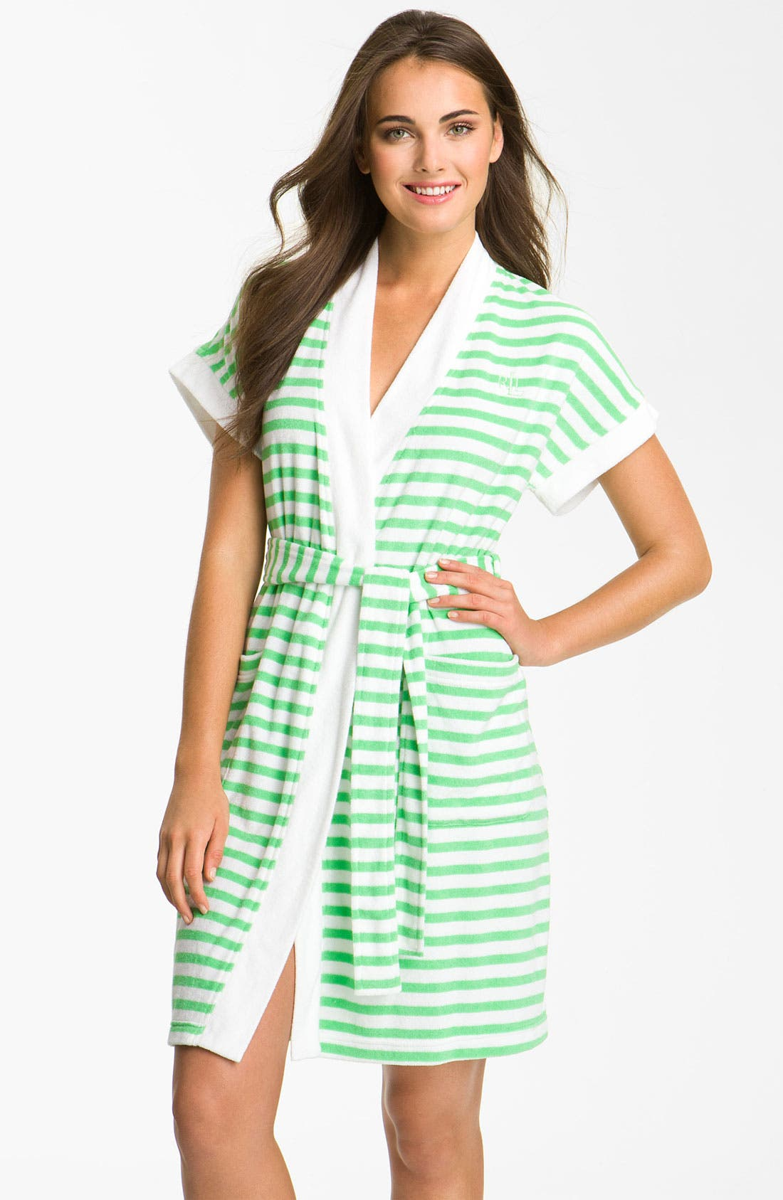 Alternate Image 1 Selected - Lauren Ralph Lauren Sleepwear Stripe Spa Robe