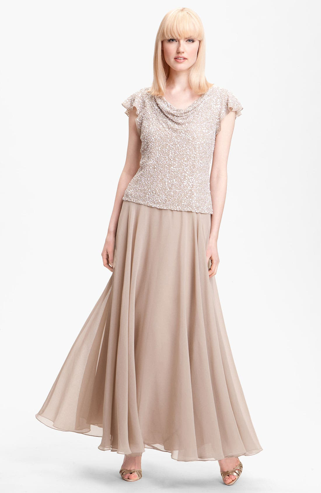 Alternate Image 1 Selected - J Kara Sequin Flutter Sleeve Bodice Chiffon Gown