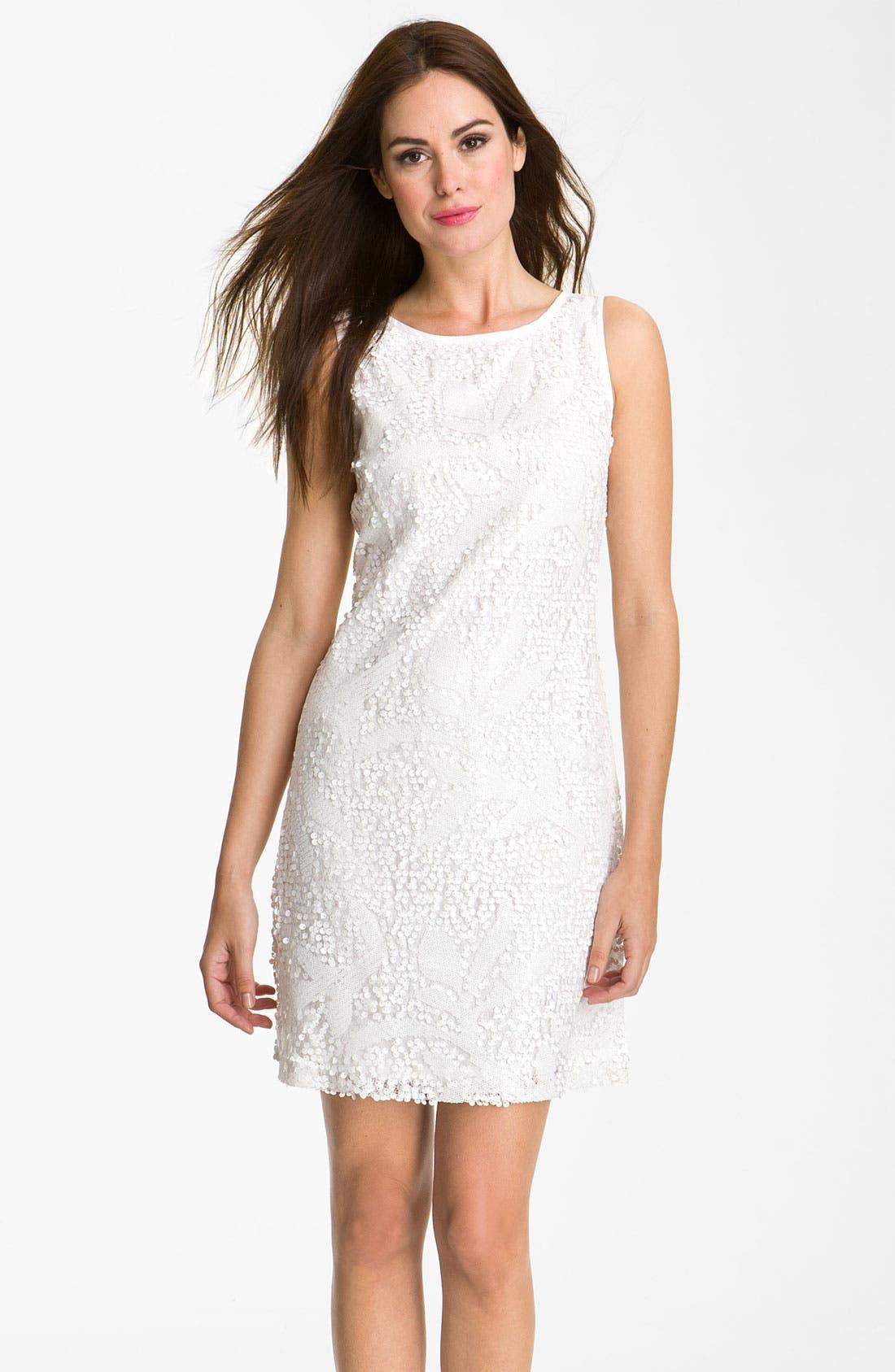 Main Image - Donna Ricco Sleeveless Sequin Overlay A-Line Dress