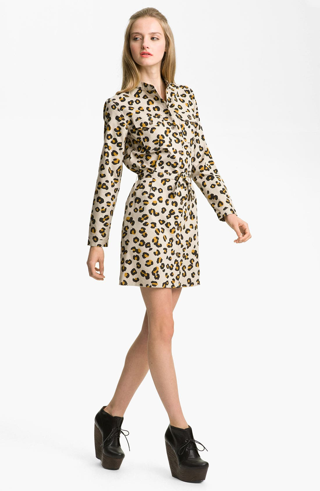 Main Image - A.P.C. Leopard Print Gabardine Shirtdress