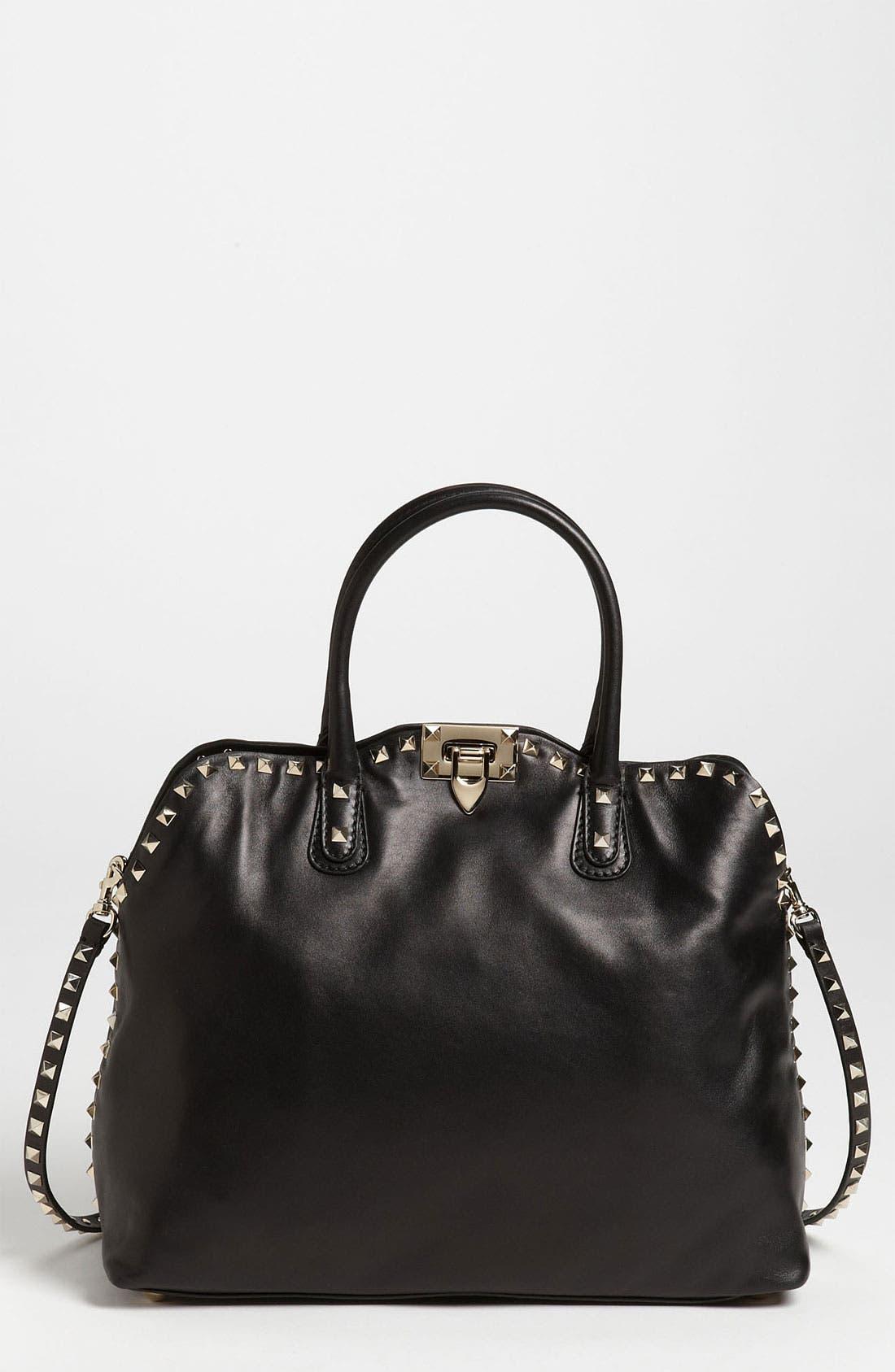 Main Image - Valentino 'Rockstud' Leather Dome Handbag