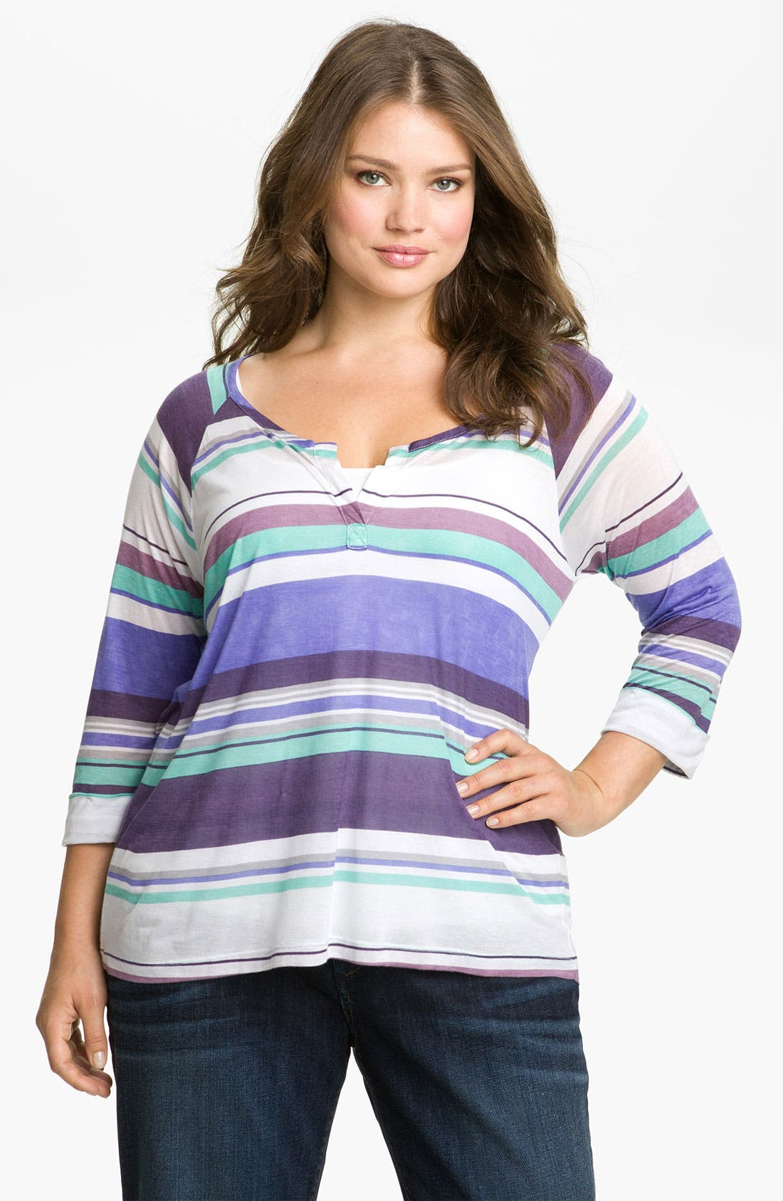Alternate Image 1 Selected - Splendid Stripe Henley Tee (Plus)