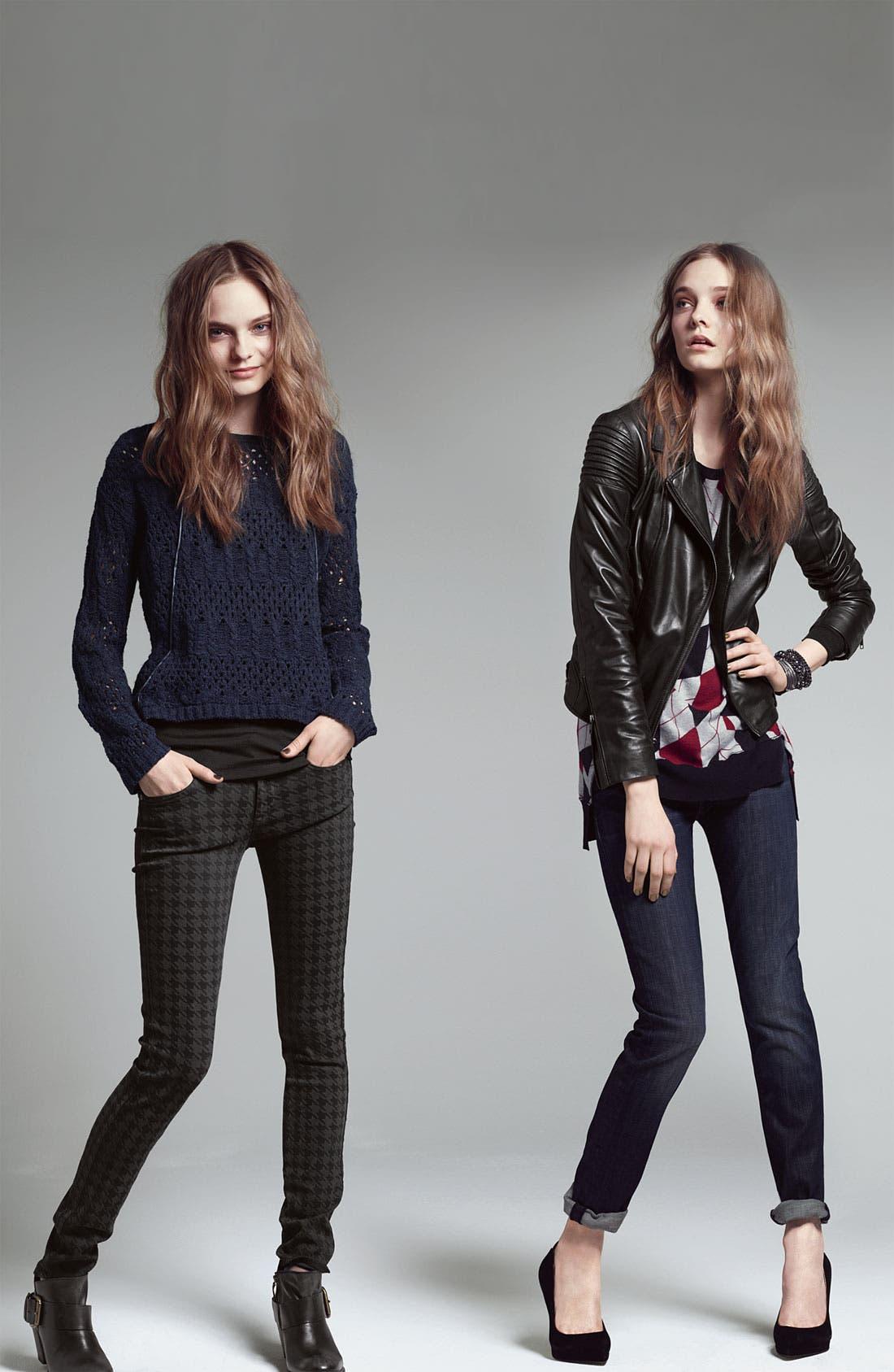 Alternate Image 5  - Trouvé Faux Leather Trim Open Knit Sweater